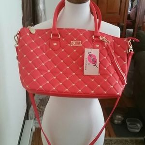 Betsey Johnson Quilted Pink & White Pvc Tote